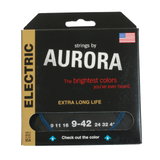 Aurora Premium Coloured Electric Guitar Strings 9-42 Blue