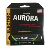 Aurora Premium Coloured Electric Guitar Strings 9-42 Nitro Lime