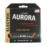 Aurora Premium Coloured Electric Guitar Strings 9-42 Nitro Orange