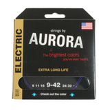 Aurora Premium Coloured Electric Guitar Strings 9-42 Purple