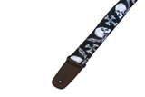 Fretfunk present large white skulls on black guitar strap