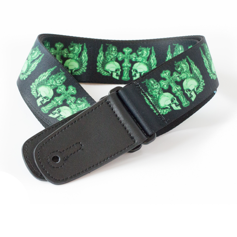 "Guitar Strap with ""Winged Skulls"" Design - Fretfunk  - 1"