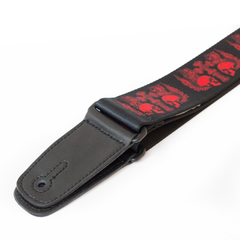 Guitar Strap with Red Skull design from Fretfunk