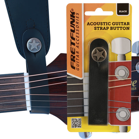 Image of acoustic guitar strap button on guitar plus packaged item