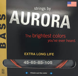 Aurora Premium Coloured Bass Guitar Strings for 4-String Basses 45-105 Nitro Orange