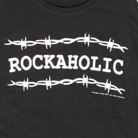 "Ladies ""Rockaholic"" Design Black Vest - Fretfunk (close up)"