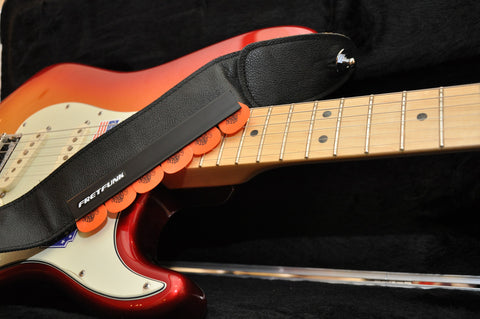 Strap Mounted Guitar Pick Holder - Classic Edition - Fretfunk - Pictured with a USA Deluxe Fender Stratocaster