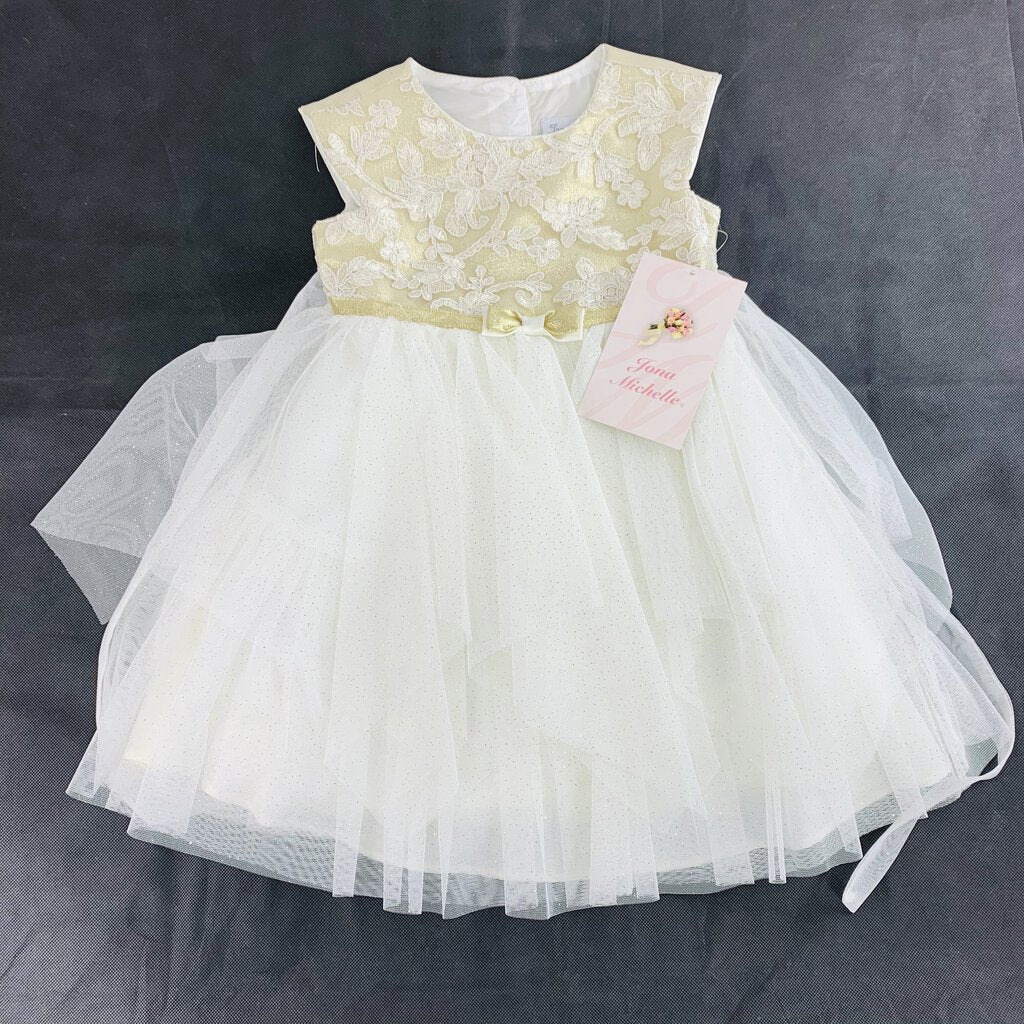 Jona Michelle Gold and Ivory Dress NEW 3T - SeeSaw Childrens Consignment