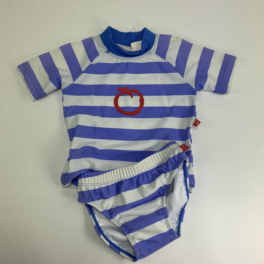 plum 2pc stripe swimshirt/diaper
