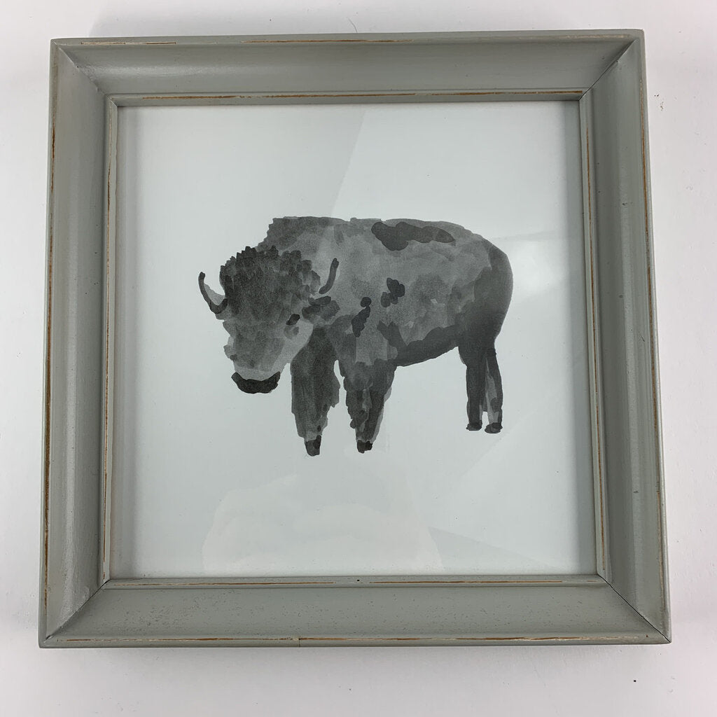 Pottery Barn Framed Bull Art 9.75x9.75 IN