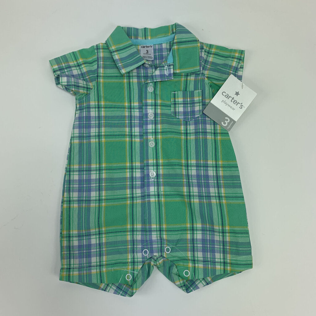 Carters NEW plaid romper Size 3 mo - SeeSaw Childrens Consignment