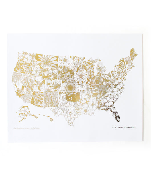 Floral Map of the USA Stamped Gold Foil