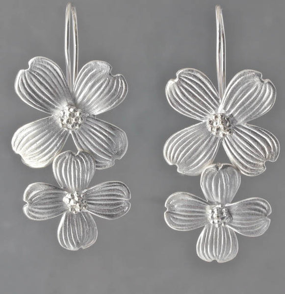 Double Dogwood Flower Earrings