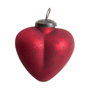 Glass Red Heart Ornament