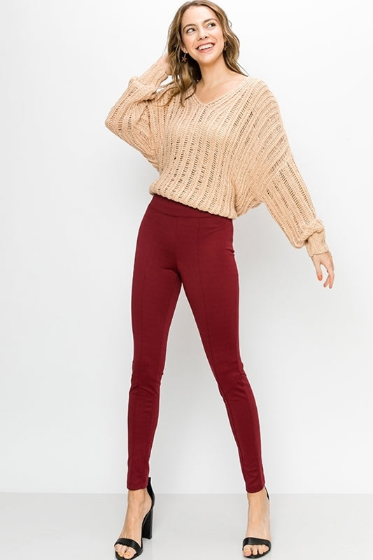 Holly Berry Panel Leggings in Wino - Final Sale