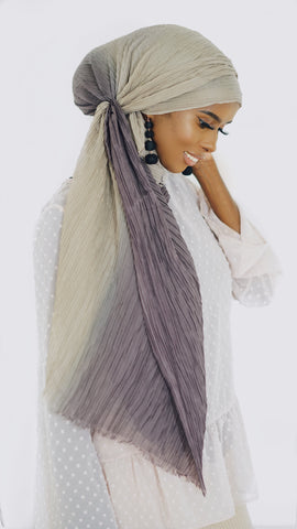 Beige Purple Ombre (pleated)