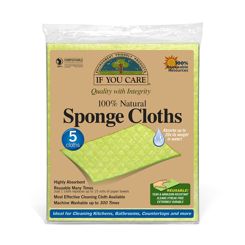 If You Care - Natural Sponge Cloths Cotton/Cellulo 1x5 Pack