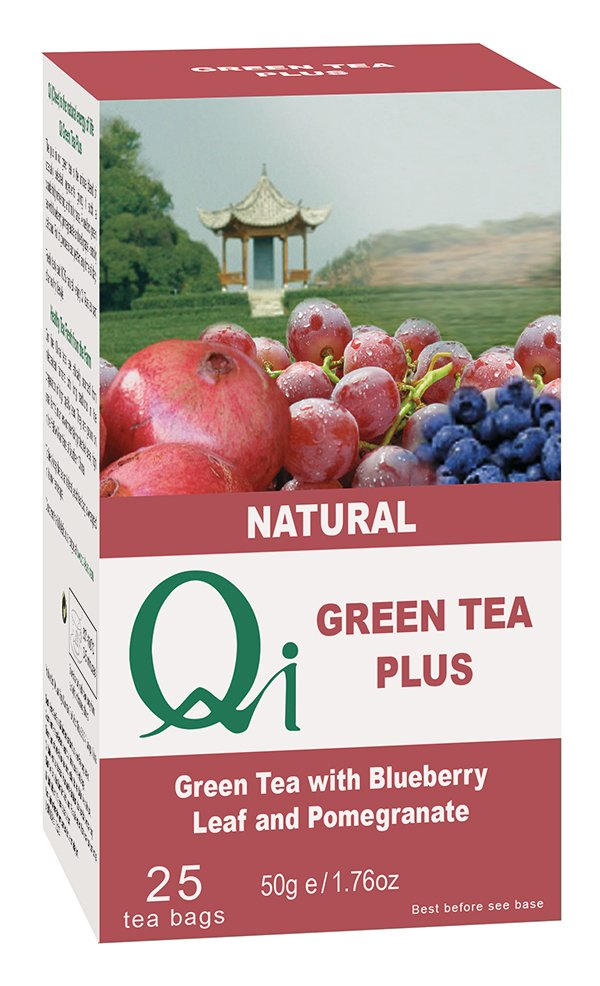 Qi Green Tea + Blueberry/Pomegranate 6x25 Bags