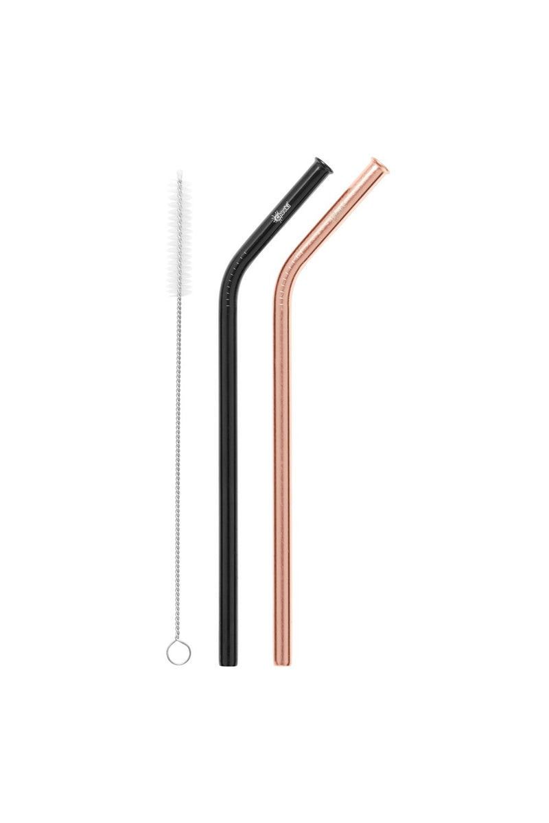 Pack Bent Stainless Steel Straws - Rose Gold/ Black & Cleaning Brush