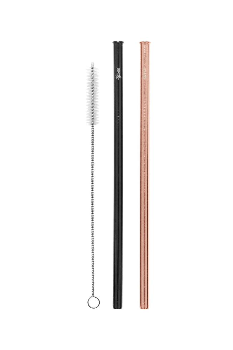 Straight Stainless Steel Straws - Rose Gold, Black & Cleaning Brush 2 Pack