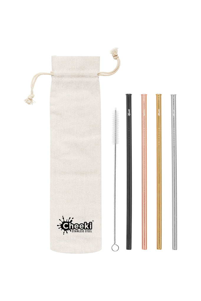 Straight Stainless Steel Straws - Silver, Gold, Rose Gold, Black, Cleaning Brush + Bag 4 Pack