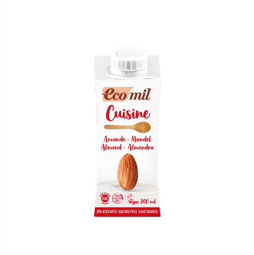 ECOMIL - Almond Cooking Cream Sugar-Free (Org) 24x200ml