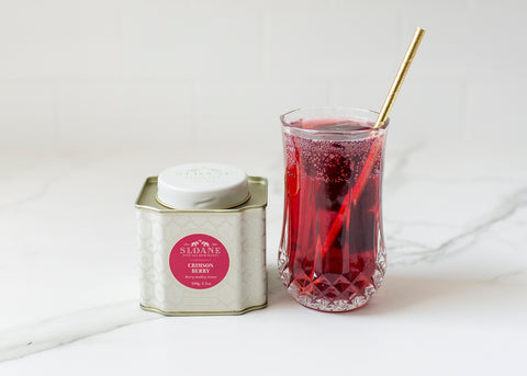 crimson berry tea spritzer in glass