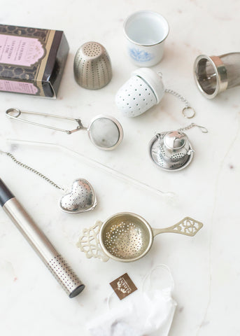 collection of different styled tea infusers and filters