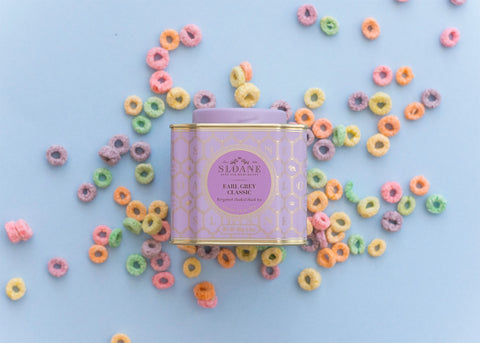 earl grey tea tin over froot loops