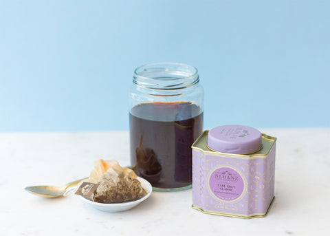 earl grey tea concentrate in glass jar
