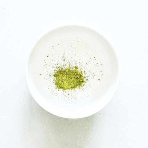 mixing bowl filled with 1 tsp of matcha