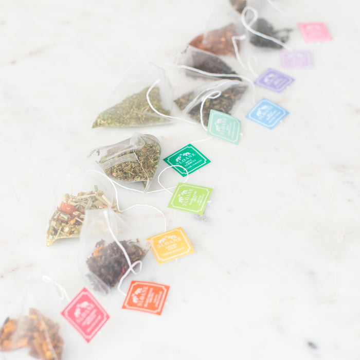 diagonal of biodegradable sachets rainbow