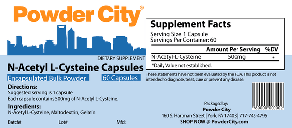 N-Acetyl L-Cysteine (NAC) Supplement Capsules