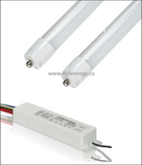 347V T8 Tube/Driver Sets - 2 x 8ft.(72W) LED HO (High Lumen Output) Tubes + Driver Fa8 Base
