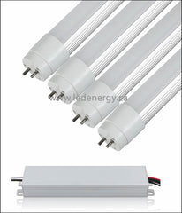 100-277V T8 Tube/Driver Sets - 4 x 4ft.(60W) LED HO (High Lumen Output) Tubes + Driver G13 Base