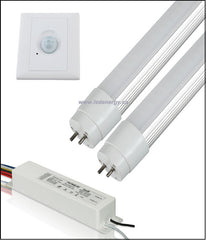 100-277/347V T8 Tube/Driver/Sensor Sets - 2 x 4ft.(36W) LED Tubes + Driver + Sensor G13 Base