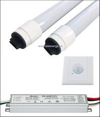 100-277/347V T8 Tube/Driver/Sensor Sets - 2 x 8ft.(72W) LED Tubes + Driver + Sensor R17d Base