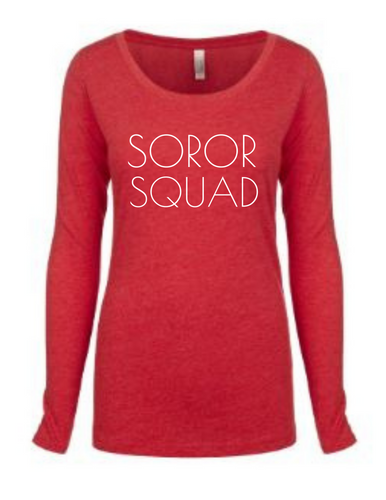 Soror Squad Long Sleeve Red