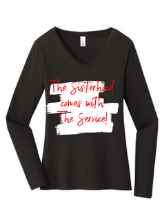 Sisterhood Long Sleeve V Neck Red