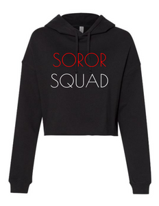 Soror Squad Cropped Hoodie Red