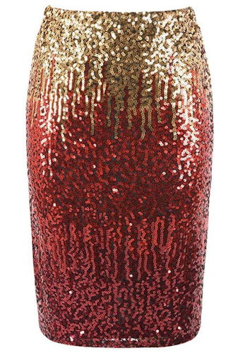 Red Ombre' Sequin Pencil Skirt