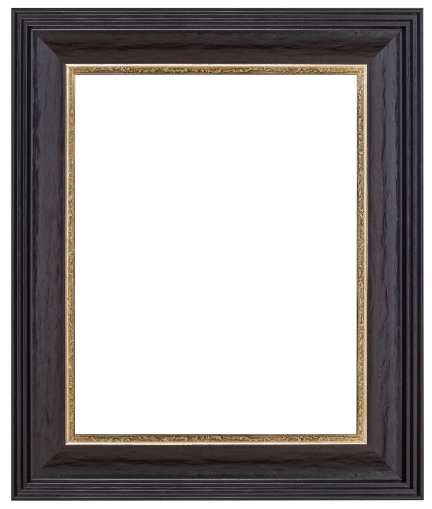 Dark Distresed Wood Frame with Silver Lip - Wholesale Frame Company