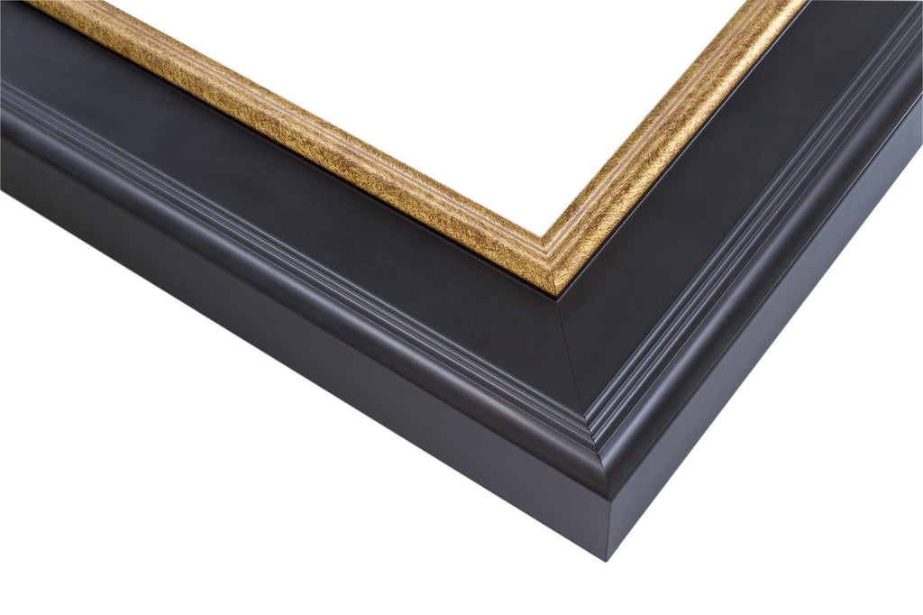 Black Frame with Crimson Undertones and Gold Lip, artist frame