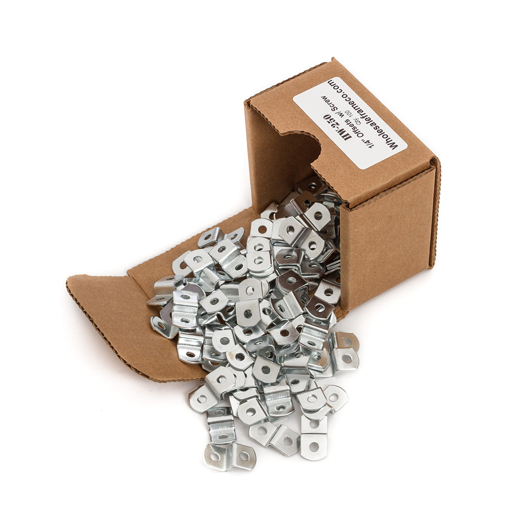"1/4"" Offset Clips w/ Screws, Picture Frame Hardware, 100 count"