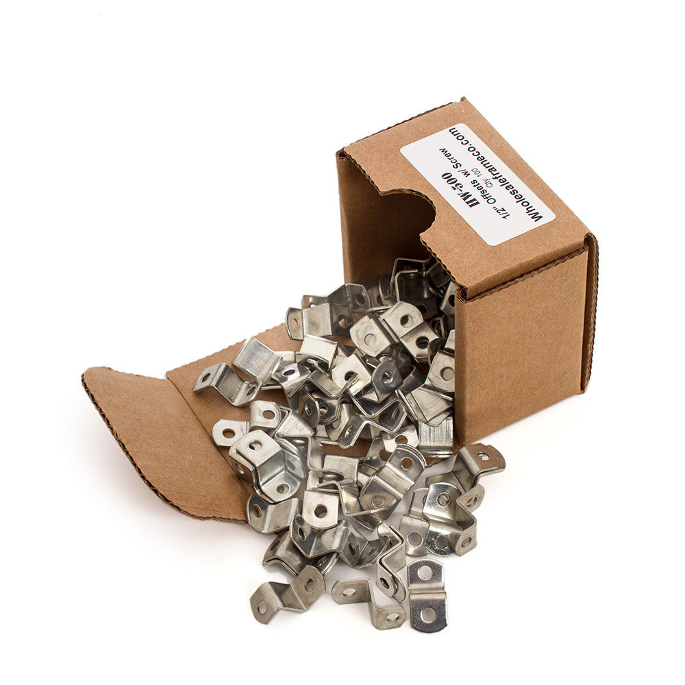 "1/2"" Offset Clips w/ Screws, Picture Frame Hardware, 100 count"