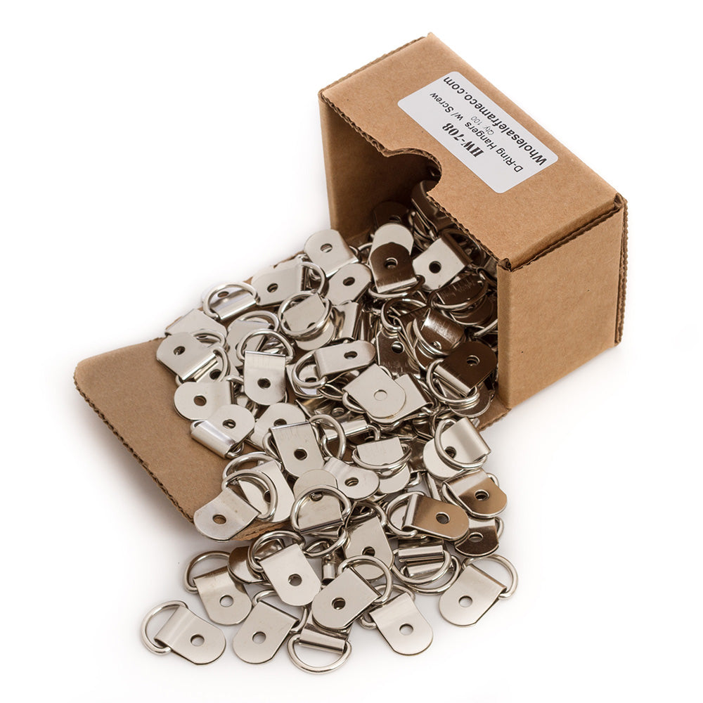 Box of 100 count One Hole D-Ring Hangers w/Screws