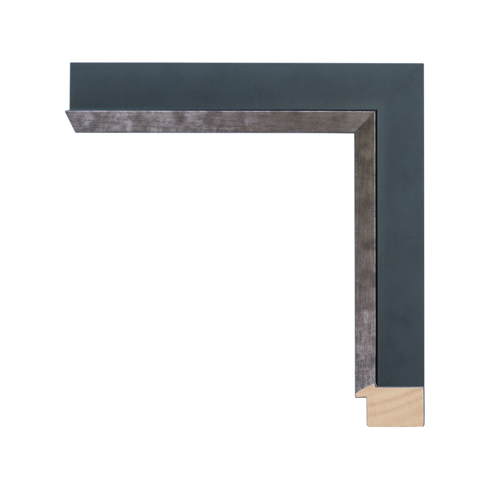 Contemporary Matte Black Frame with Pewter Lip, Artist Frame
