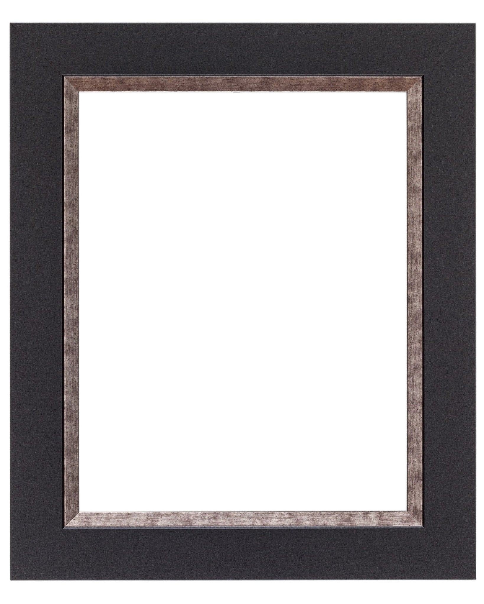 Contemporary Mat Black Frame with Pewter Lip - Wholesale Frame Company