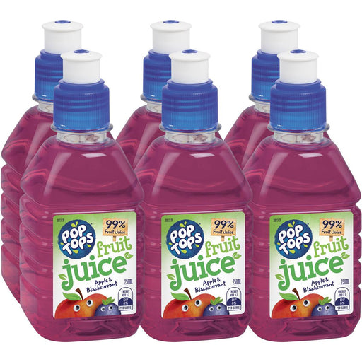 POP TOPS APPLE BLACKCURRANT 250ML X 6PK