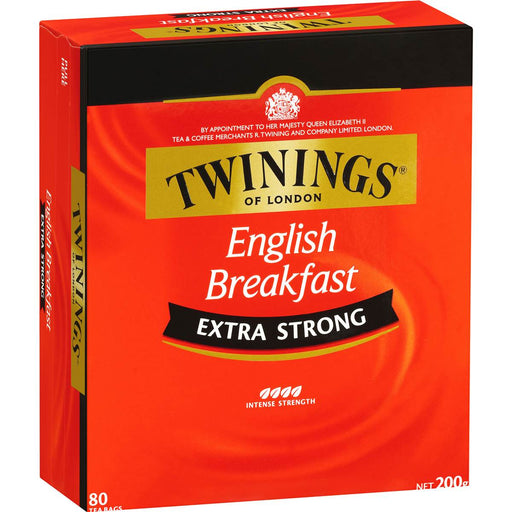 TWININGS EXTRA STRONG ENGLISH BREAKFAST TEA BAGS 80PK